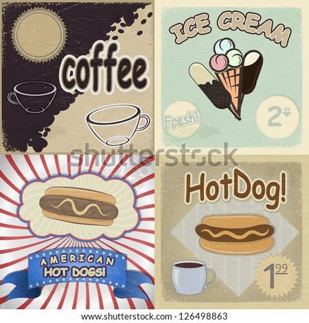Set of vintage cards with the image of fast food - stock vector