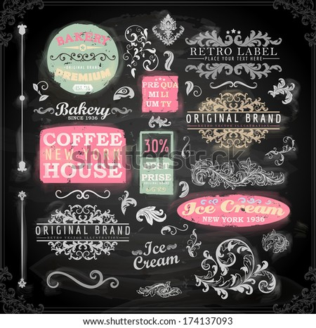 Set of vintage chalkboard bakery logo badges and labels for retro design. Chalkboard illustration variant. - stock vector