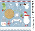 Set of Vintage Christmas and New Year's elements - stock vector