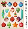 Set of vintage christmas balls. Colorful isolated icons. - stock vector