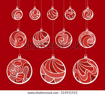 Set of vintage Christmas balls. Vector various ornate Christmas decorations on red background for your Christmas design - stock vector