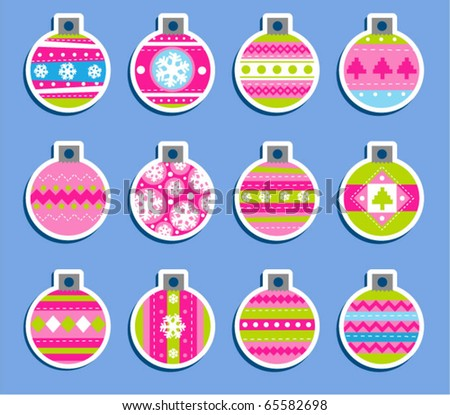 Set of 12 Vintage Christmas balls which may be used as tags for gift or stickers - stock vector