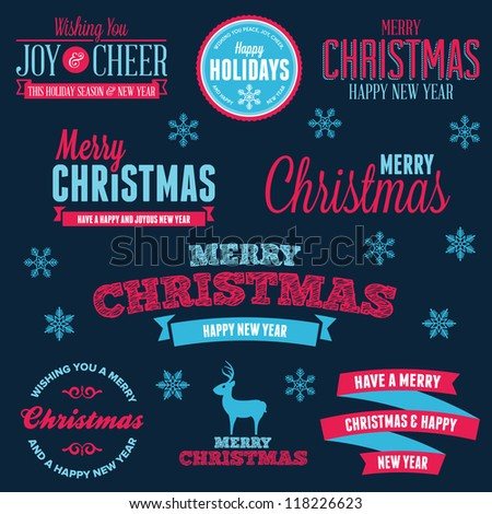 Set of vintage Christmas holiday labels and text graphics - stock vector