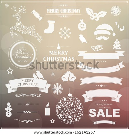 Set Of Vintage Christmas Symbols And Ribbons, With Gradient Mesh, Vector Illustration - stock vector