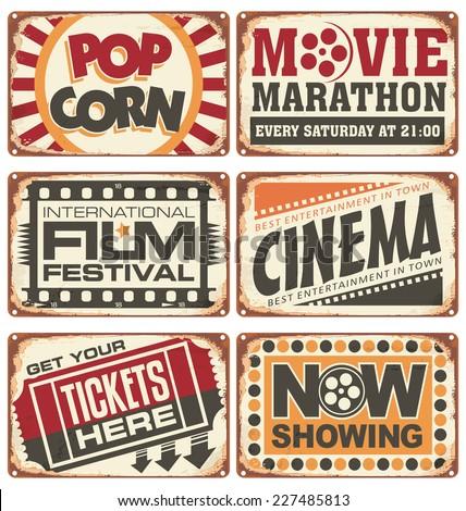 Set of vintage cinema metal signs. Retro cinema creative design concept. Vector design. - stock vector