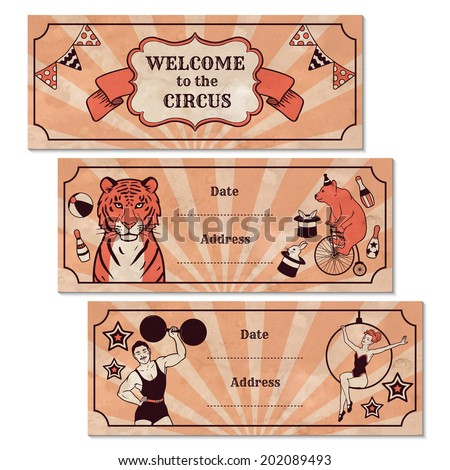 Set of vintage circus advertisement banners - stock vector