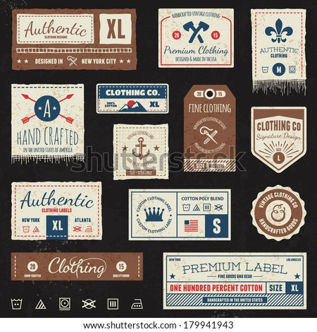 set of vintage clothing tags and retro labels stock vector