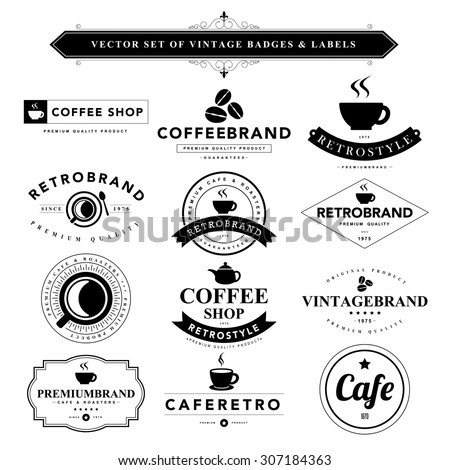 Set of vintage coffee badges and labels - stock vector