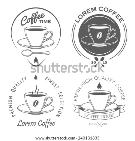 Set of vintage coffee labels and design elements - stock vector