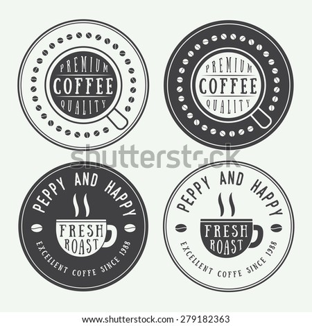 Set of vintage coffee logos, labels and emblems with cup, dish and grains - stock vector