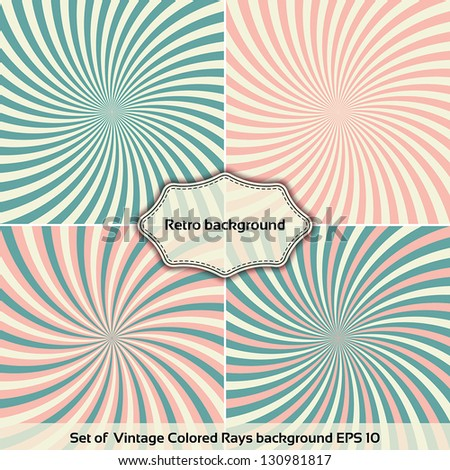 Set of Vintage Colored Rays background. Vector illustration EPS 10 - stock vector