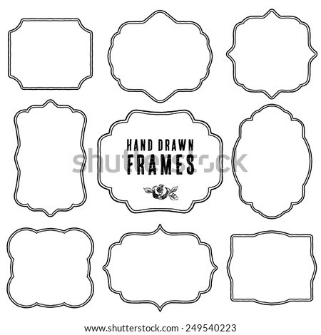 Set of vintage contour blank frames and labels. Hand drawn vector illustration. - stock vector