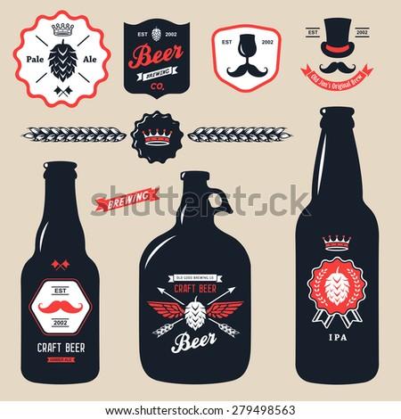 set of vintage craft beer bottles brewery - stock vector