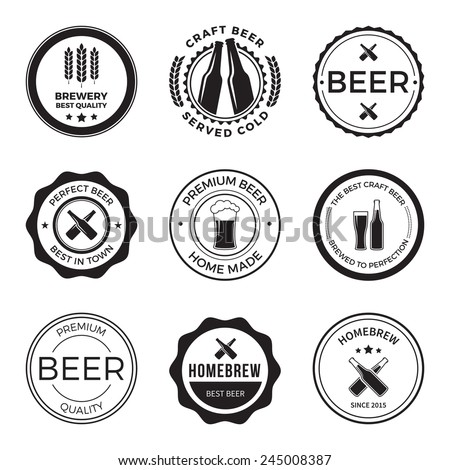 set of vintage craft beer brewery badges, labels and design elements - stock vector