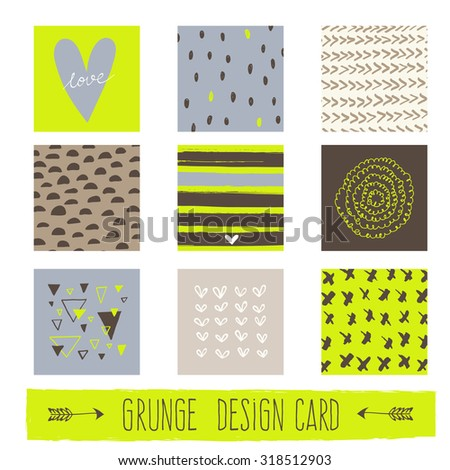 Set of Vintage Creative Cards with Hand Drawn Textures. Templates for Placards, Posters, Flyers and Banner Designs, Printable Journals Card. Vecto - stock vector