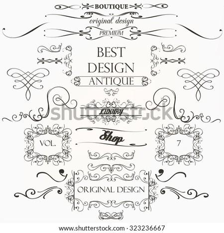 Set of vintage decorations element flourishes calligraphic swirls borders and frames retro - stock vector