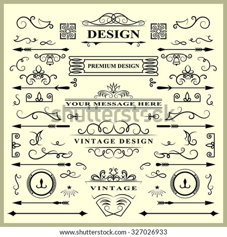 Set of Vintage Decorations Elements. Flourishes Calligraphic Ornaments and Frames. Retro Style Design Collection for Invitations, Banners, Posters, Placards, Badges and Logotypes. Vector illustration - stock vector