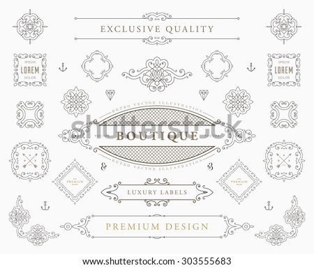 Set of Vintage Decorations Elements. Flourishes Calligraphic Ornaments, Borders and Frames. Retro Style Collection for Boutique, Store, Shop, Restaurant, Hotel and Heraldic Logo. Identity design. - stock vector