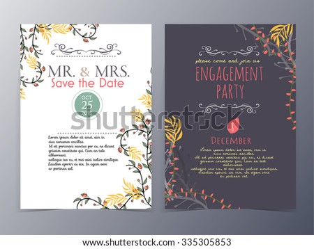 set of vintage design element ,background,pattern ,monogram for use as invitation card ,birthday,valentine's day,party invitation,wedding - stock vector