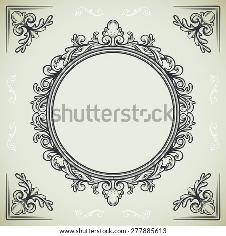 set of vintage design elements, round frame and decorative corners - stock vector