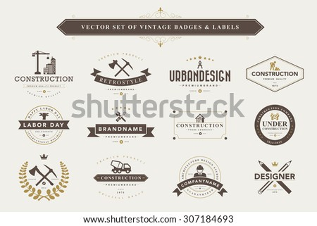 Set of vintage  designer badges and labels - stock vector