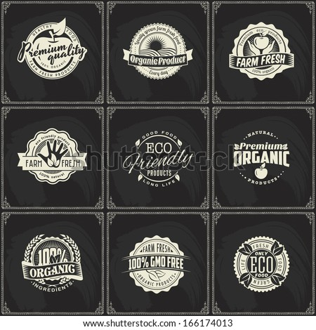 Set of vintage eco green chalk lettering sticker labels of healthy organic natural farm fresh food on blackboard - stock vector