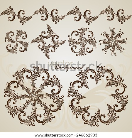 Set of vintage elements for your design. Brown and white texture . Vector illustration  - stock vector