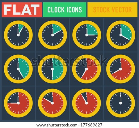 Set of vintage flat clocks with 5 minutes gradation - stock vector