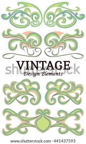 Set of vintage floral elements for design. Vector decorative design elements. - stock vector