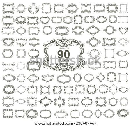 Set of 90 vintage floral frames. VECTOR. - stock vector