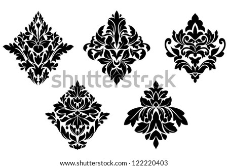 Set of vintage floral patterns and embellishments isolated on white background. Jpeg version also available in gallery - stock vector