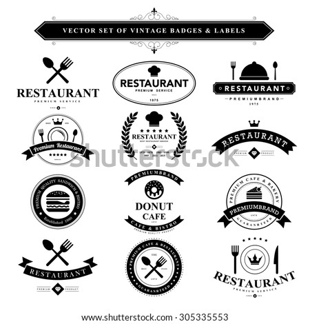 Set of vintage  food badges and labels - stock vector