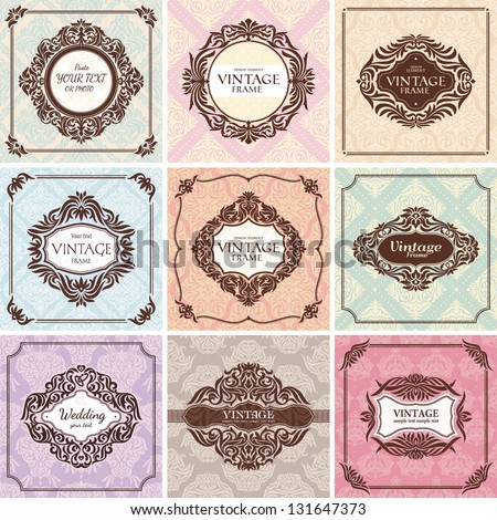 Set of vintage frames. Great for invitations and greeting cards. - stock vector