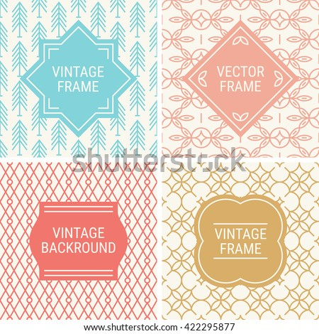 Set of vintage frames in Blue, Peach, Coral, Gold and Beige on mono line seamless background. Perfect for greeting cards, wedding invitations, retro parties. Vector labels and badges - stock vector