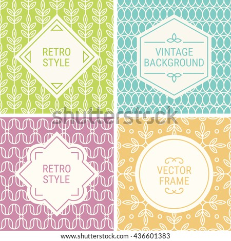 Set of vintage frames in Green, Cyan, Purple, Yellow and Beige on mono line seamless background. Perfect for greeting cards, wedding invitations, retro parties. Vector labels and badges - stock vector