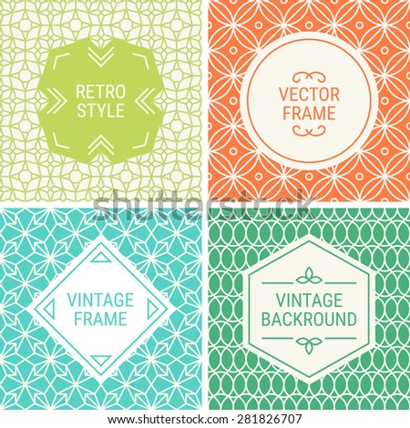 Set of vintage frames in Green, Orange, Blue, Emerald Green and Beige on mono line seamless background. Perfect for greeting cards, wedding invitations, retro parties. Vector labels and badges - stock vector