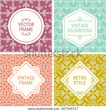 Set of vintage frames in Mint Green, Orange, Pink, Yellow and Beige on mono line seamless background. Perfect for greeting cards, gift paper, retro parties. Vector labels and badges - stock vector