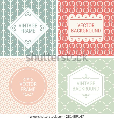 Set of vintage frames in Red, Light Green, Grey, Pink and Beige on mono line seamless background. Perfect for greeting cards, wedding invitations, retro parties. Vector labels and badges - stock vector
