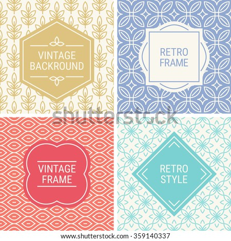 Set of vintage frames in Red, Violet, Blue, Gold and Beige on mono line seamless background. Perfect for greeting cards, wedding invitations, retro parties. Vector labels and badges - stock vector