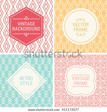 Set of vintage frames in Red, Yellow, Turquoise, Pink and Beige on mono line seamless background. Perfect for greeting cards, wedding invitations, retro parties. Vector labels and badges - stock vector
