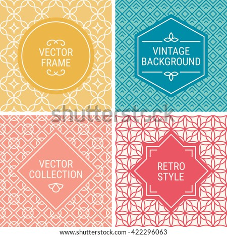 Set of vintage frames in Yellow, Blue, Peach, Red and Beige on mono line seamless background. Perfect for greeting cards, wedding invitations, retro parties. Vector labels and badges - stock vector