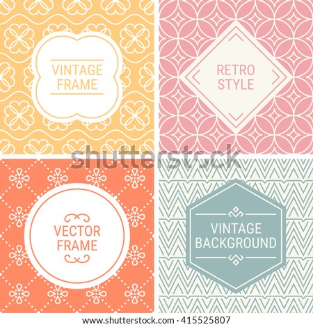 Set of vintage frames in Yellow, Pink, Orange, Grey and Beige on mono line seamless background. Perfect for greeting cards, wedding invitations, retro parties. Vector labels and badges - stock vector