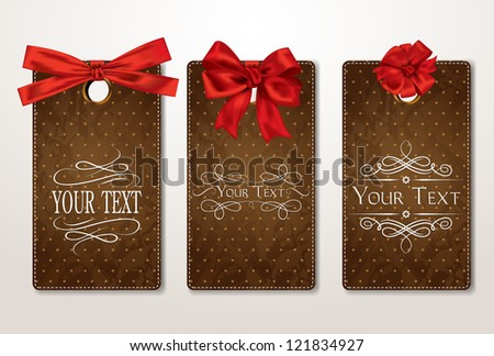 Set of vintage gift cards with red bows - stock vector