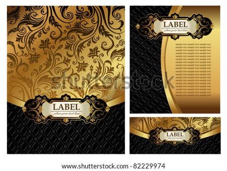 Set of Vintage gold & black luxury decorative ornate menu cover, envelope and certificate - stock vector