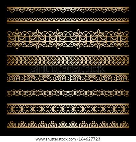 Set of vintage gold borders, ornamental vector dividers on black - stock vector