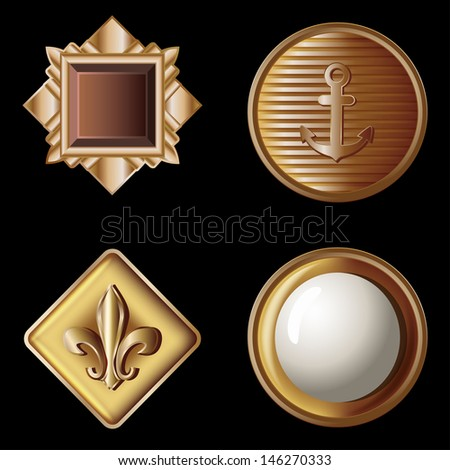set of vintage gold buttons - vector illustration - stock vector