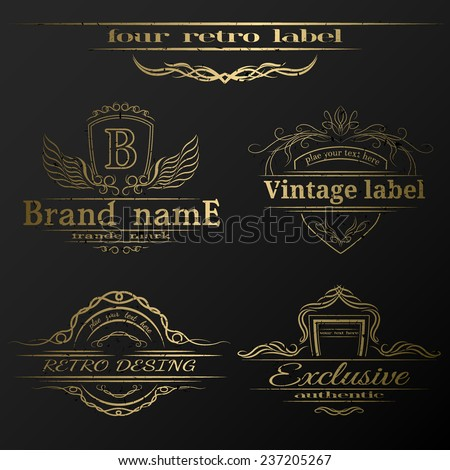 Set of vintage gold labels. - stock vector