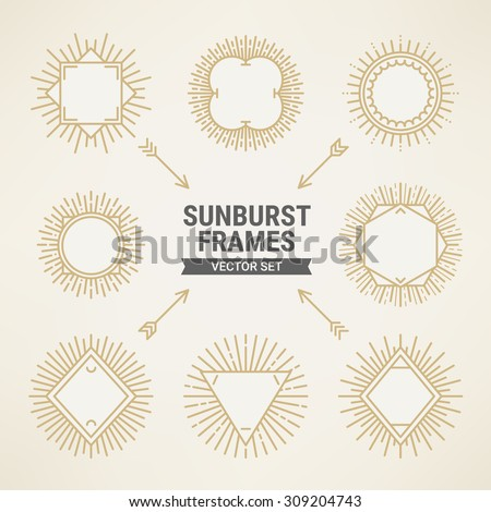 Set of vintage gold sunbursts frames in trendy mono line style. Perfect for retro greeting cards, logo templates, vintage invitations - stock vector