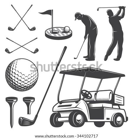 Set of vintage golf elements. Monochrome style - stock vector