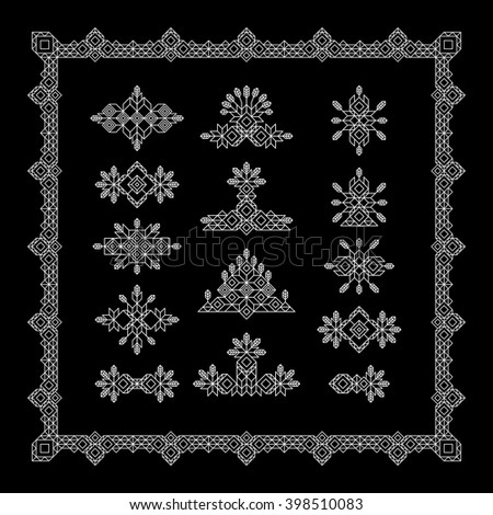 Set of Vintage Graphic Elements for Design. Line Art Design for Invitations, Posters. Linear Element. Geometric Style. Lineart Vector Illustration. Geometric Linear Border, Divider.  - stock vector